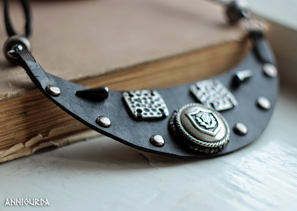 колье, украшения, кожаные украшения, кожа, металл, рок, байкер, неформальный стиль