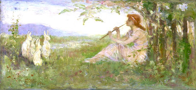 Spring Rabbit Flute Music Painting