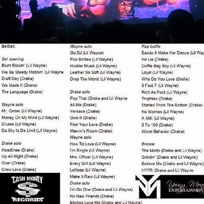 setlist de drake vs lil wayne gira tour conciertos concierto lista de canciones