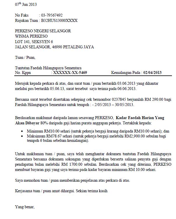 Surat Rasmi Untuk Perkeso Wilayah Id