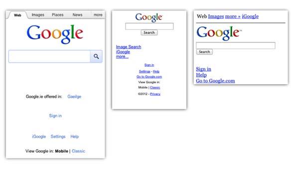 Tampilan mobile Google