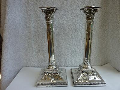 Rare Pair Sterling Silver George III Candlesticks - George Ashforth & Co 1776