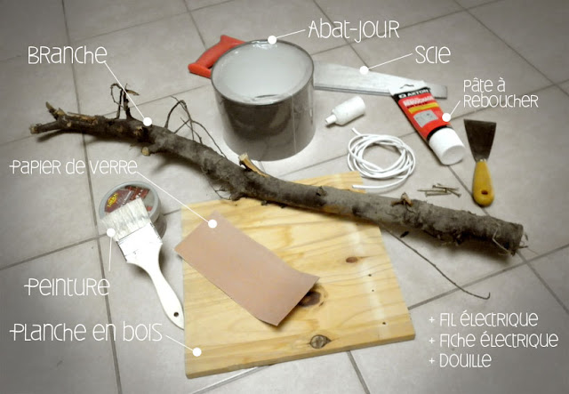 matériel pour faire une lampe avec des branches