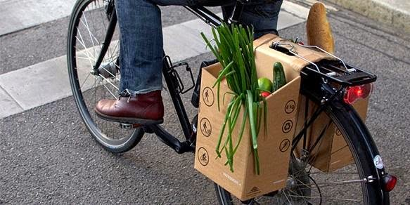bicycle career made up of cardboard, vegetable fruits backside carrier