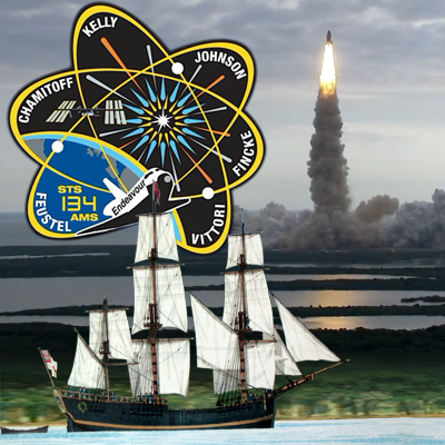 Captain James Cook's Endevour 1770, Emblem of Mission STS134 and Endeavour launch in the background, 16 May 2011. NASA 2011.