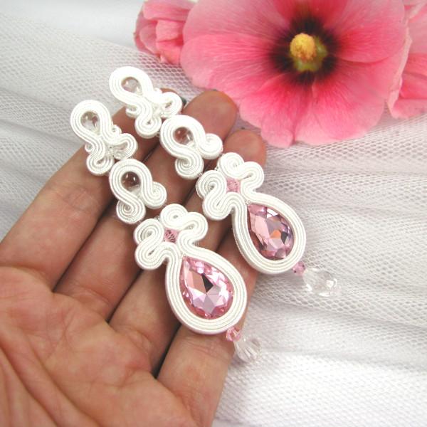 śnieżnobiałe kolczyki ślubne sutasz