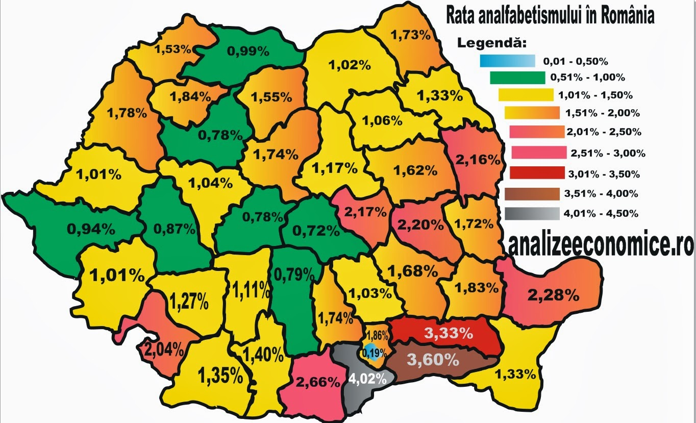 Rata analfabetismului la recensământul din 2011