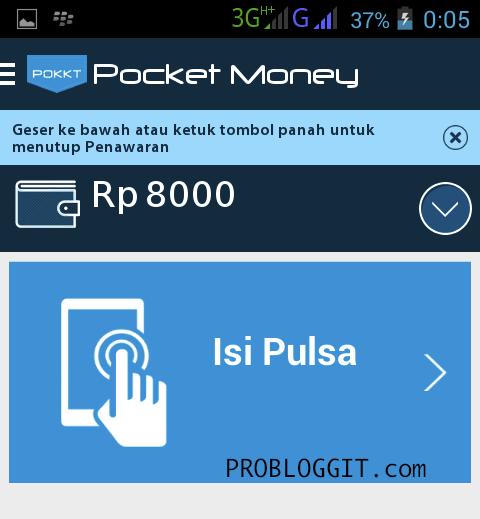 Pocket Money Aplikasi Android Penghasil Pulsa Gratis Terbaru 2015