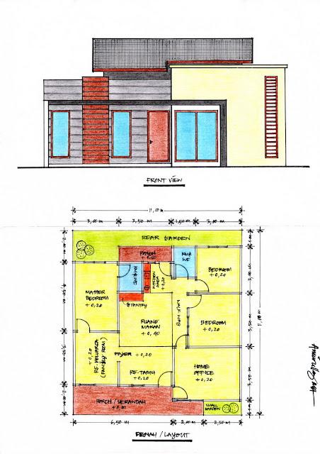 desain rumah minimalis ukuran 11 x 11 m