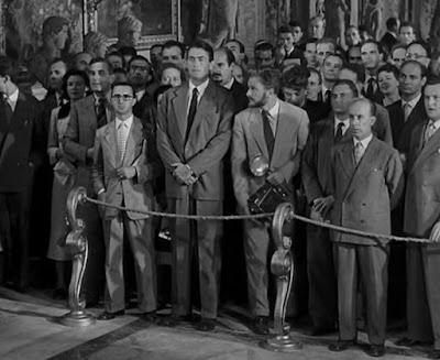 Moriones a la izquierda y Cortés-Cavanillas a la derecha de Gregory Peck y Eddie Albert