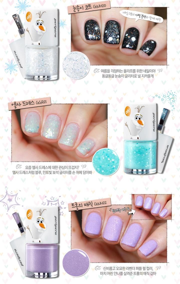 Peripera x disney frozen nail polishes