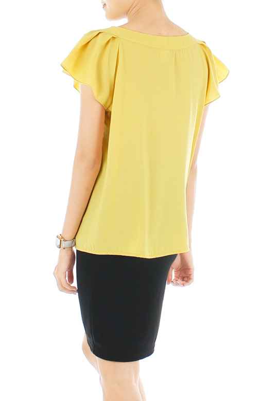 Charming Flutter Pussybow Blouse - Yellow