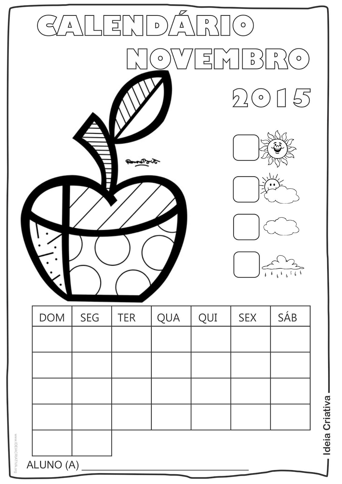 Calendário Novembro  2015 com Desenho Maçã  de Romero Britto para Colorir Sem Numeração
