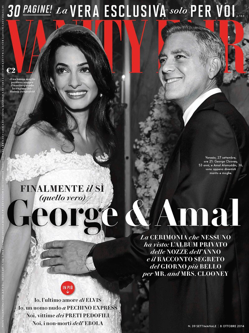 Amal Alamuddin and George Clooney are the newlyweds on the Vanity Fair Italy October 2014 cover