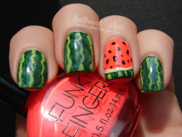 nails nailart nail art Spellbound mani manicure watermelon fruit green China Glaze Holly-Day Sally Hansen Green with Envy Funky Fingers Kingston realistic