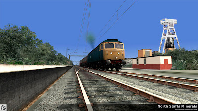 Fastline Simulation - North Staffs Minerals: Trentham Colliery. A Class 47 hauled southbound MGR departs Trentham Colliery.