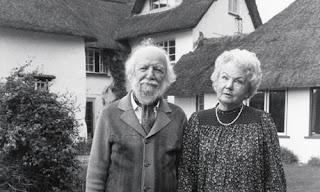 William Golding & his wife Ann in their Wiltshire Garden in 1983