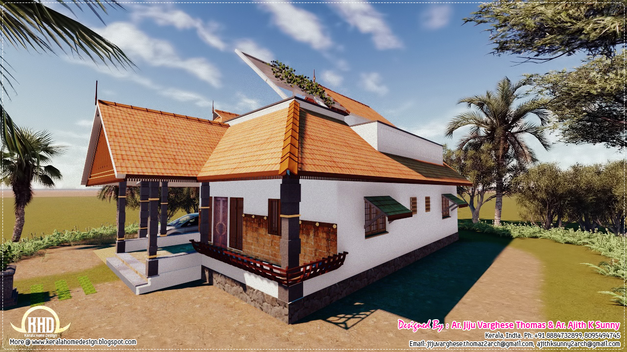 Traditional kerala house in 1200 house design plans for Conventional homes