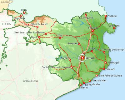 Girona Mapa Ciudad de la Región