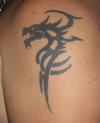 Dragon Tribal Shoulder Tattoos Designs: Shape Head Dragon With Small