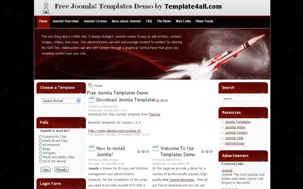 Black Red Space Free Joomla 1.5 Theme Template
