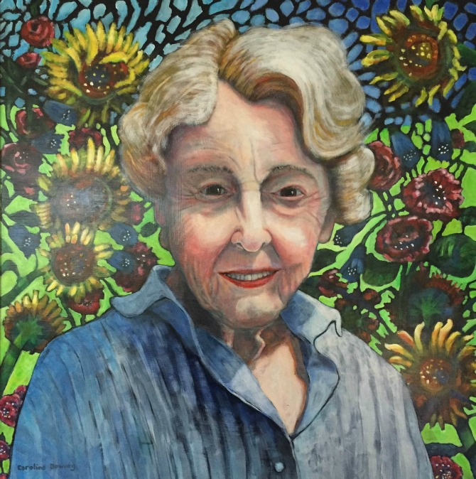 A painting of Suzanne Goodall - the founder of Tŷ Hafan