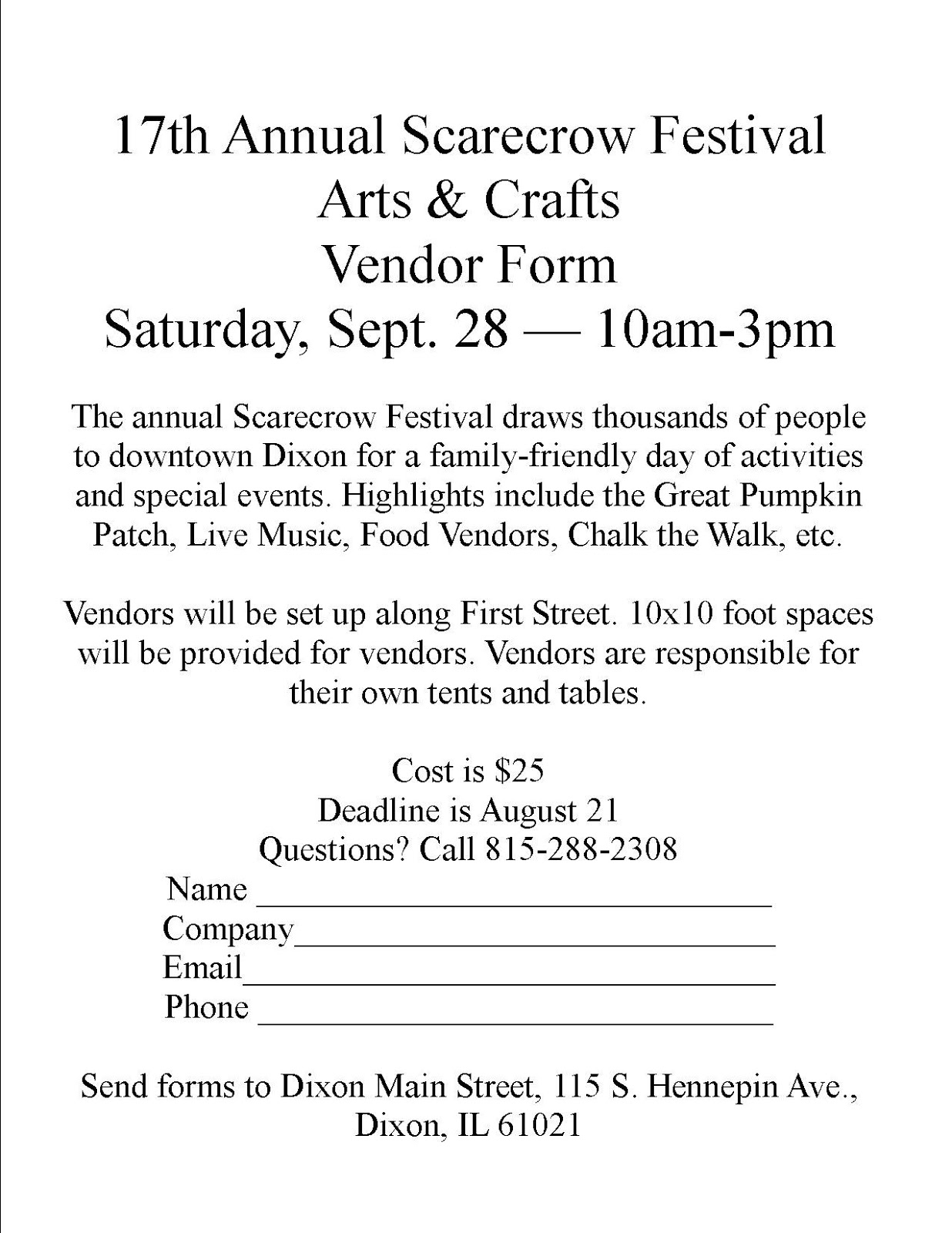 Dixon Main Street Scarecrow Festival Vendor Application – Vendor Form Template