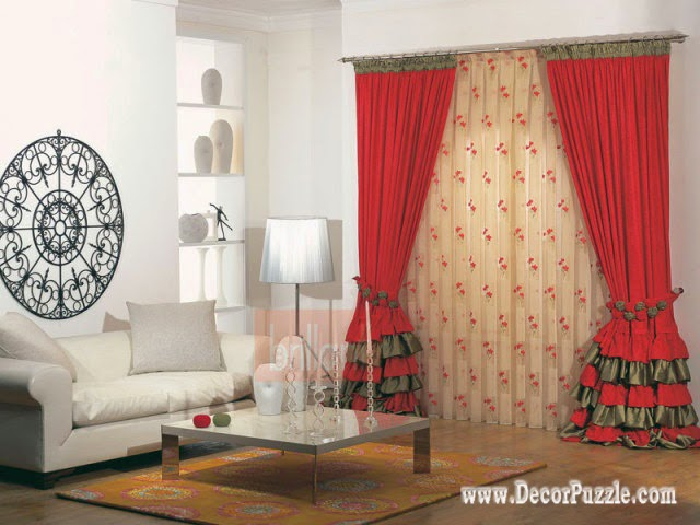 The best curtain styles and designs ideas 2017 for Red and cream curtains for living room