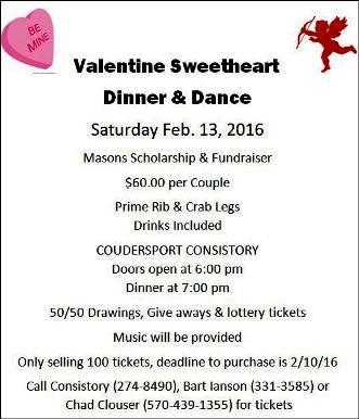 2-13 Valentine Dinner & Dance, Consistory