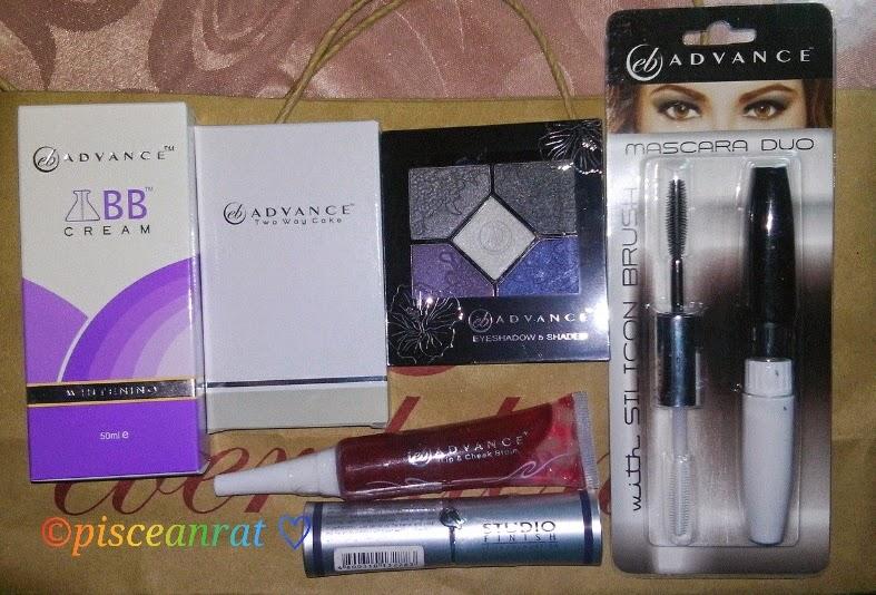 EB Advance BB Cream Whitening, Two Way Cake, Eyeshadow 5 Shades, Lip and Cheek Stain, Studio Finish Foundation, Mascara Duo.