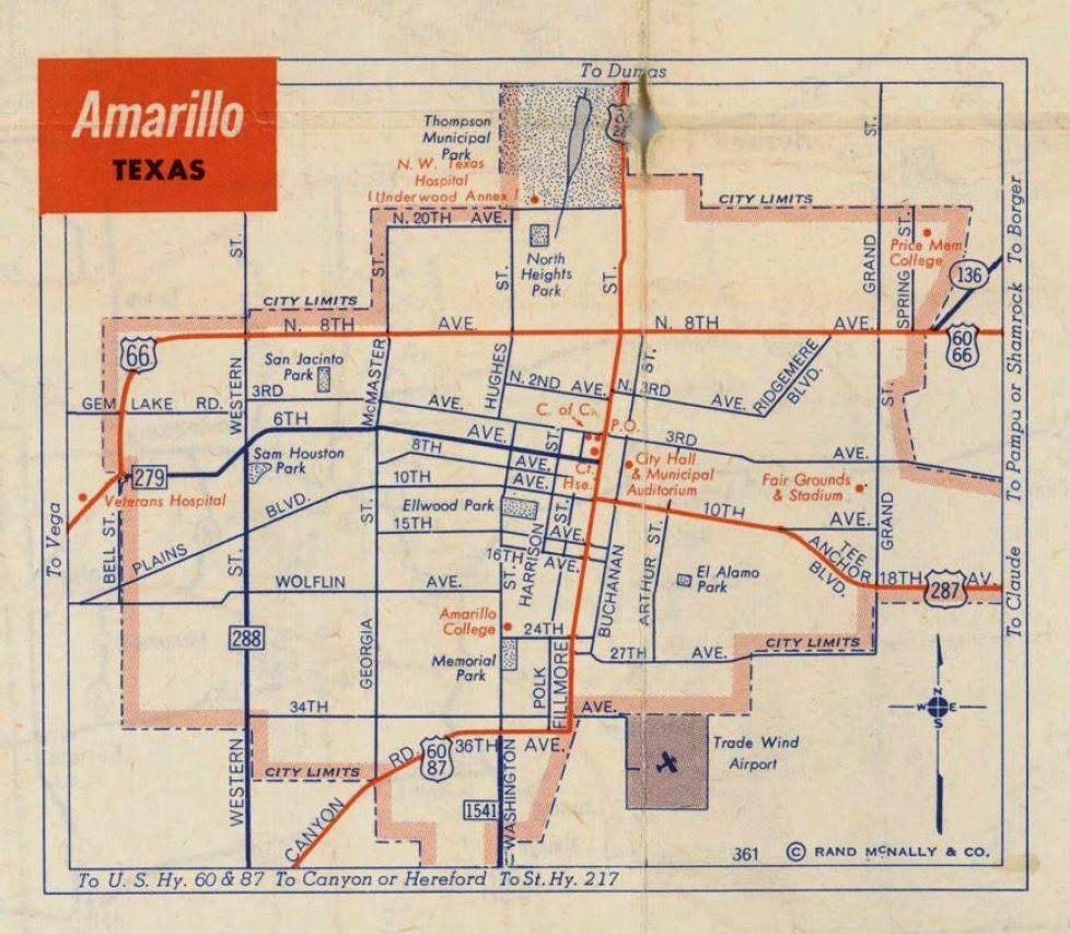 History of Amarillo Texas Map of Amarillo c 1956 1960