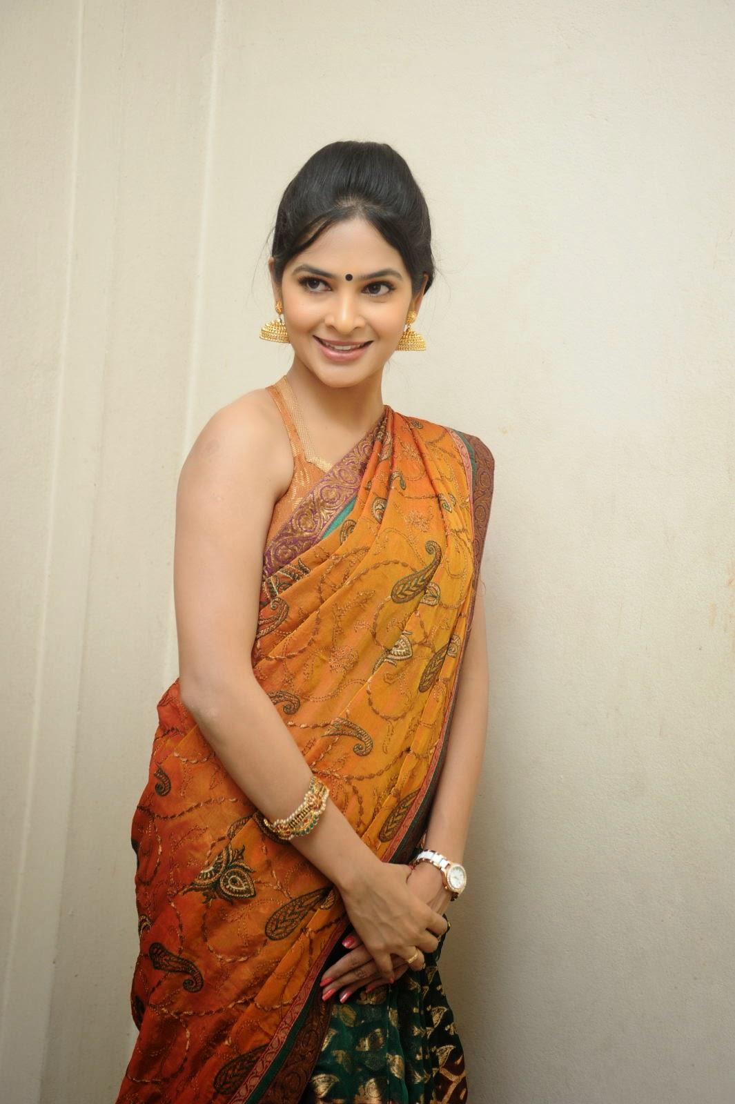Madhumitha sizzling pics in saree-HQ-Photo-8