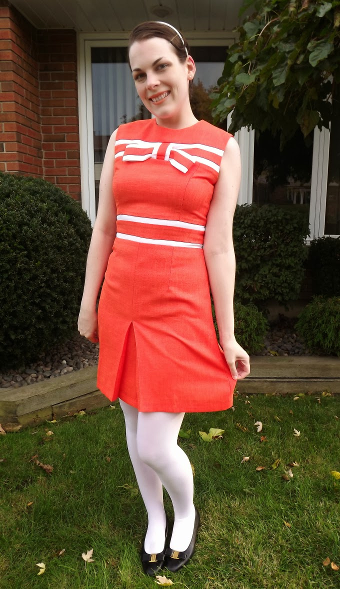 Modcloth dress, modcloth.com, Marmalade designer dress, 60s mod look, 1960s style, Pop Girl dress, orange dress, bow detail, white lines, Suzanne Amlin, A Coin For the Well, Windsor Ontario style blog, fashion blogger, vintage Salvatore Ferragamo Vara shoes, flats