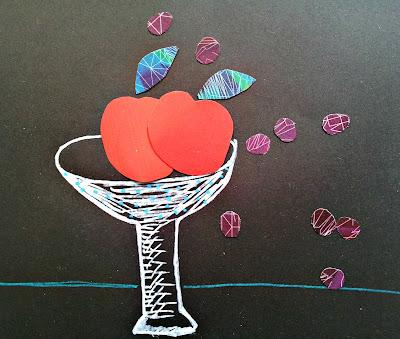 pomme raisin collage papier de couleur noir julie adore