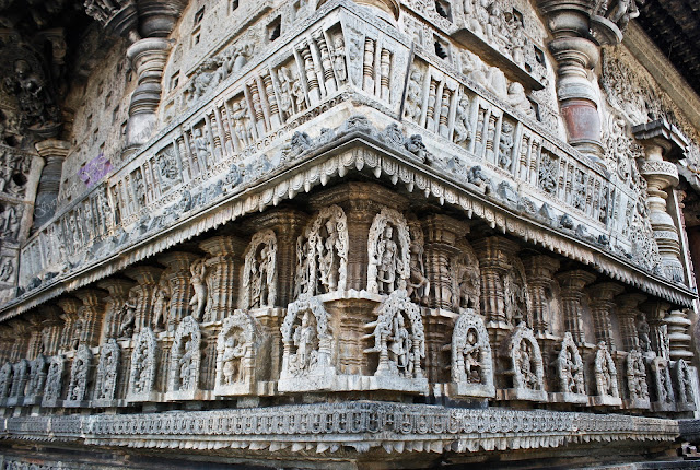 Intricate Sculptures on the walls of the Chennakeshava temple, Belur