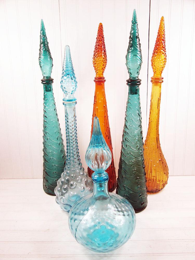 Genie bottle carafe decanter old bottle wire scoudibou vintage 70/'s Demi john half
