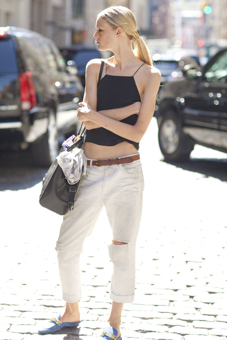 Hanne Gaby Odiele, model off duty, street style muse, crop top tank, black cami, white distressed denim boyfriend jeans, blue suede loafers