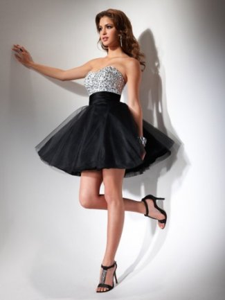party dresses strapless short black