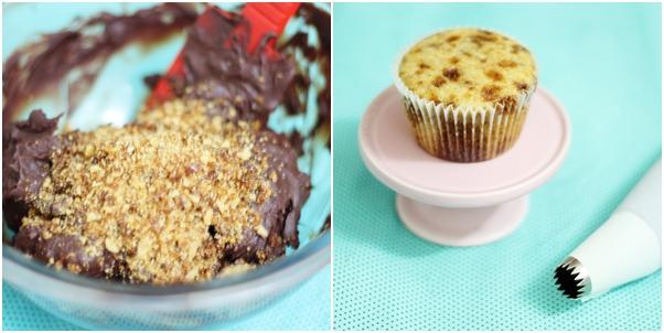 Cupcake crocante coberto com ganache de chocolate caramelada