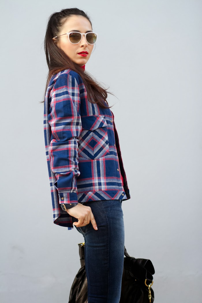 Spanish Fashion Blogger withorwithoutshoes in checked shirt and Diesel jeans