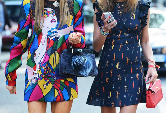 street style fashion week spring 2014, colorful, prints