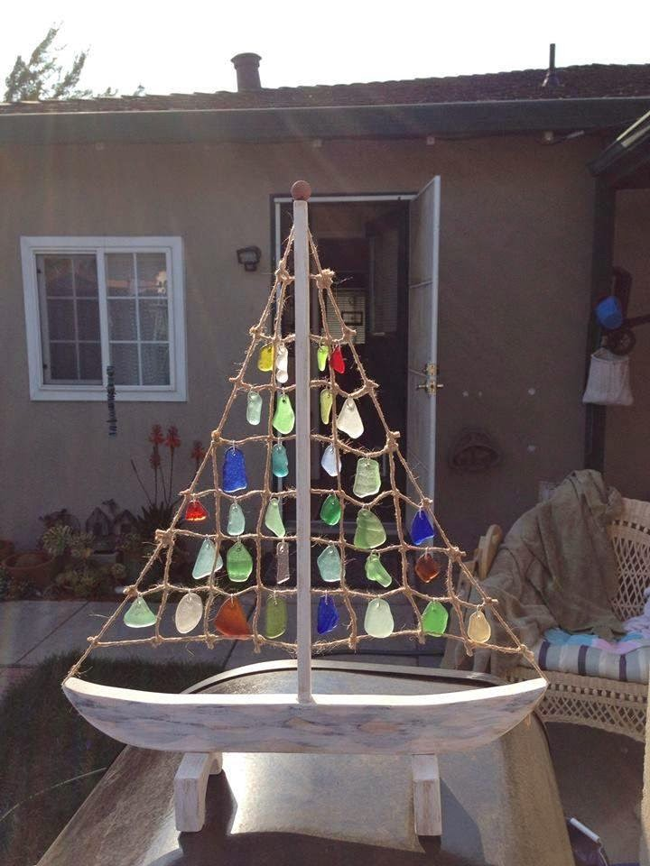 Sailboat Design Art Glass Statue