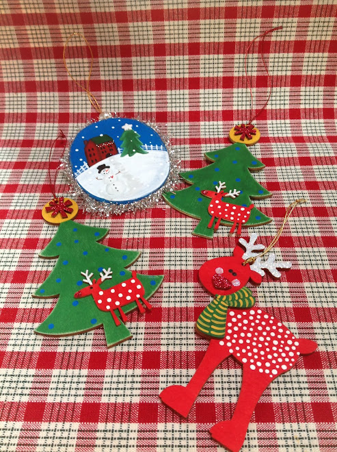 Wood Tree Ornament (2)...and Oval Winter Scene Ornament.  $5 each.