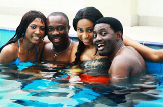 AY and wife and Julius Agwu and wife swimming