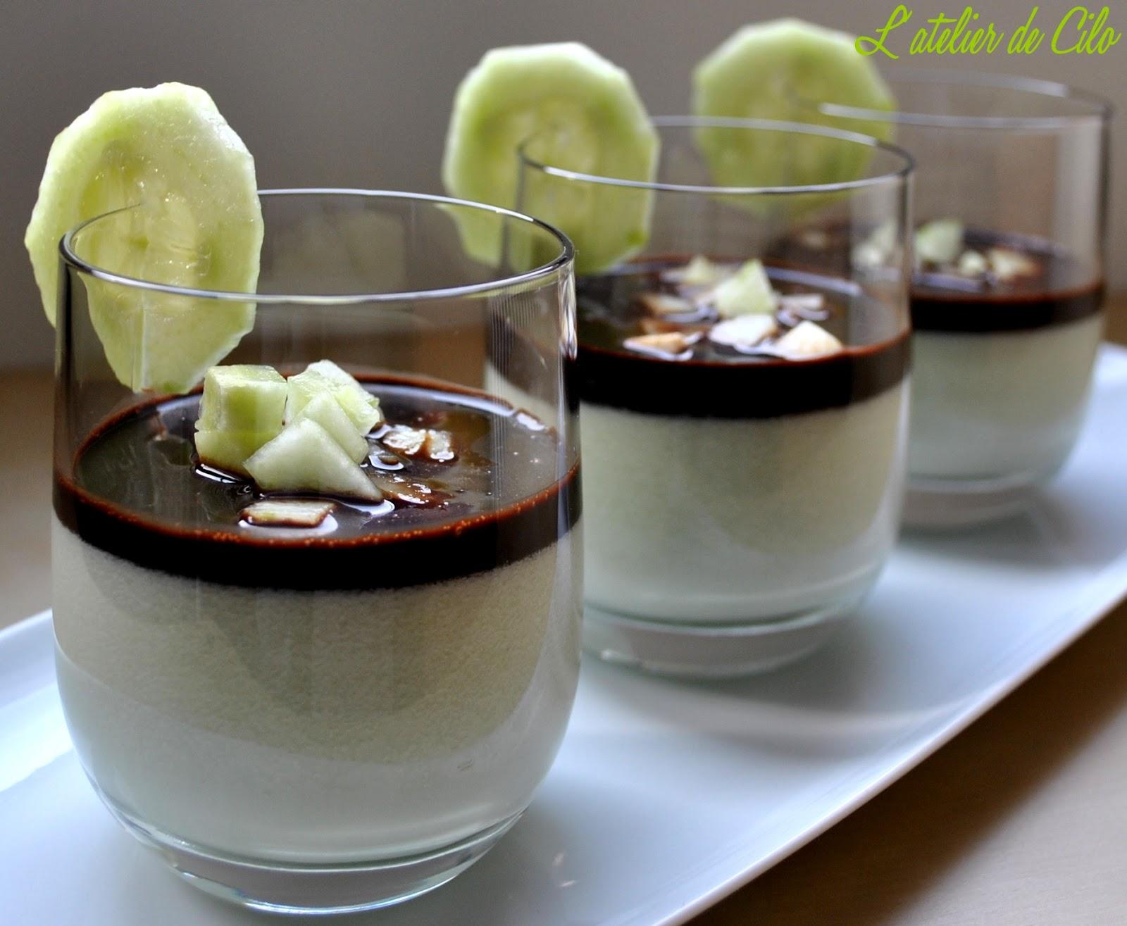 L 39 atelier de cilo panna cotta concombre menthe sirop de chocolat - Recette panna cotta mascarpone ...