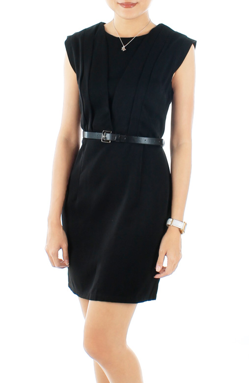 Black Tailored Verve Pleat Work Dress
