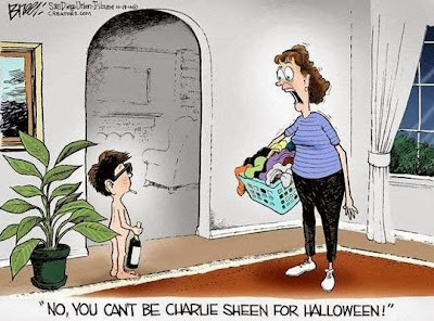 Very funny Halloween cartoon joke - No, no you can't be charlie sheen for Halloween - Mum talking to child with no clothes, bottle and smoking a cigarette