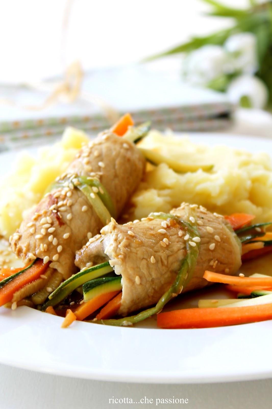 involtini di carne con verdure croccanti