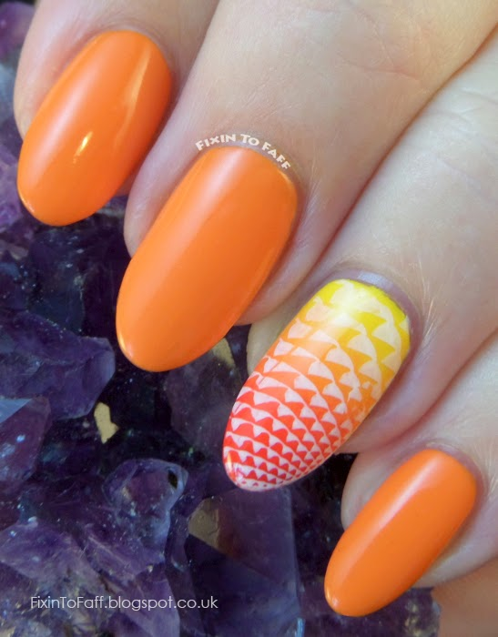 MoYou Nails plates and polish swatch review Orange