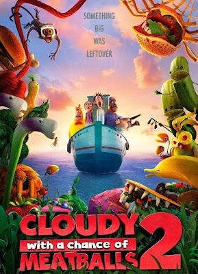 Poster Of Hollywood Film Cloudy with a Chance of Meatballs 2 (2013) In 300MB Compressed Size PC Movie Free Download At worldfree4u.com